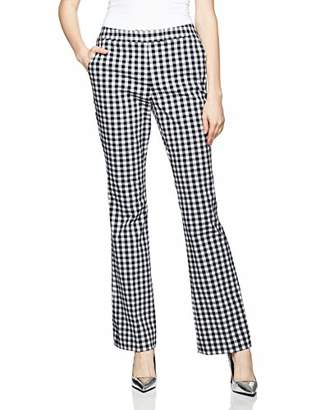 Reesa Rae Women's Smart Modern Fit Dress Pants with Check Pattern