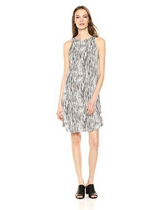 Three Dots Women's ZB5869 Zebra Print Crepe Trapeze Dress