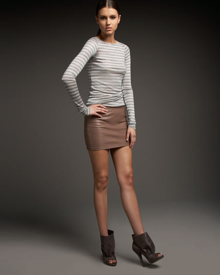 Haute Hippie Drapey Leather Miniskirt