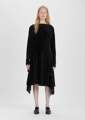 Dusan Dušan Velvet Long Sleeve Dress Ebony