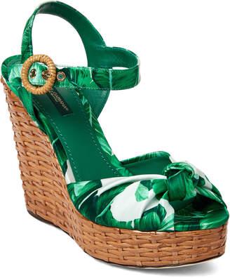 Dolce & Gabbana Green & White Botanical Garden Wedge Sandals