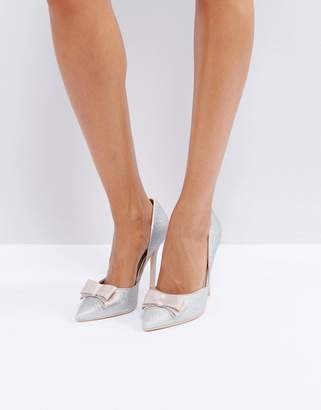 True Decadence Silver Glitter Bow Detail Pumps