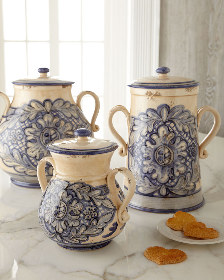 Caff Ceramiche Hand-Painted Canisters