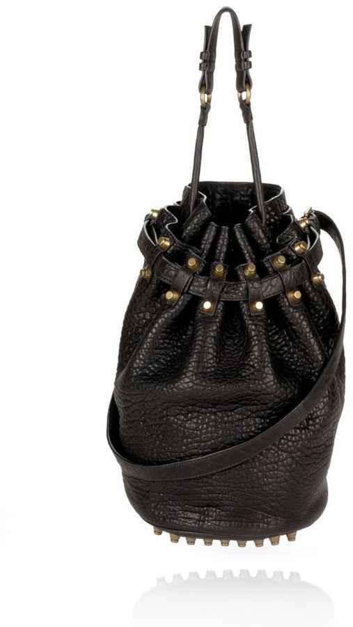 Alexander Wang Diego In Black Pebble With Antique Brass