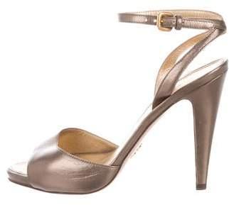d0e333e03 Prada Gold Ankle Strap Women s Sandals - ShopStyle