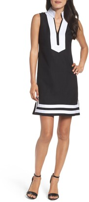 Eliza J Mandarin Collar Linen Blend Sheath Dress