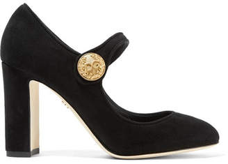 Dolce & Gabbana Embellished Suede Mary Jane Pumps - Black