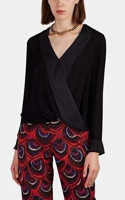 L'Agence Women's Kyla Silk Wrap-Effect Blouse - Black