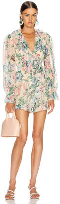 Zimmermann Verity Floating Playsuit in Cream Floral | FWRD