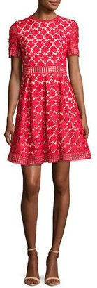 Shoshanna Short-Sleeve Pleated Lace Fit-and-Flare Dress, Red $395 thestylecure.com