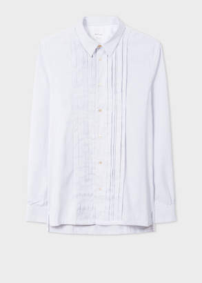 Paul Smith Men's White Striped Pleat Front Shirt With 'Dreamer' Placket Detail