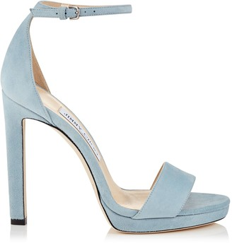 Jimmy Choo MISTY 120 Aqua Suede Platform Sandals