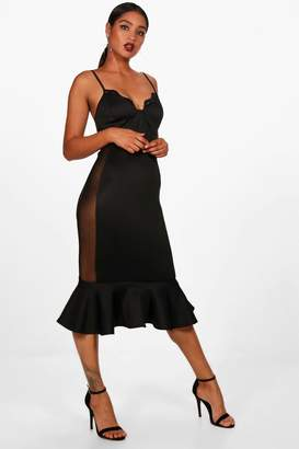boohoo Luna Mesh Panel Sides Frill Hem Midi Dress