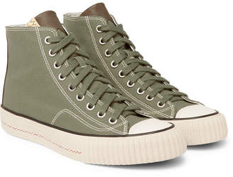 Visvim Skagway Leather-Trimmed Canvas High-Top Sneakers - Men - Green