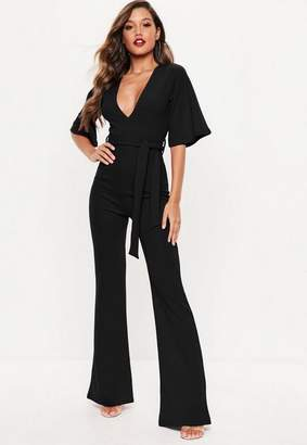 Missguided Tall Black Plunge Front Kimono Sleeve Romper