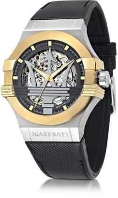 Maserati Potenza Two Tone Stainless Steel Case and Black Leather Strap Men's Watch