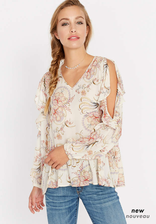 Floral Ruffle Around Cold Shoulder Top