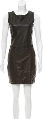 Theory Leather-Accented Sleeveless Dress
