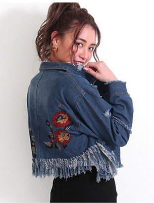 ANAP (アナップ) - CHILLE CHILLE裾フリンジバック刺繍デニムジャケット アナップ コート/ジャケット