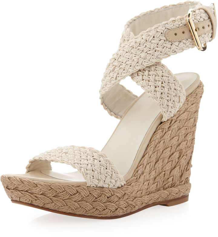 Alex Crochet Wedge Sandal, Ivory