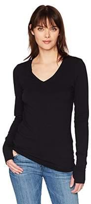 Michael Stars Women's Cotton Lycra Long Sleeve V-Neck with Thumbholes