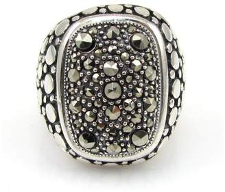 925 Sterling Silver Dot Pattern & Marcasite Pave Ring Size 6.75