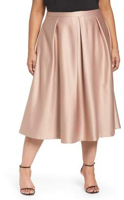 City Chic Pucker Up Pleated Satin Midi Skirt (Plus Size)