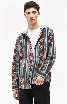 PacSun Zona Hooded Printed Long Sleeve Button Up Shirt
