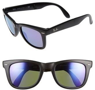 Women's Ray-Ban 'Folding Wayfarer' 50Mm Sunglasses - Black/ Purple Mirror $175 thestylecure.com