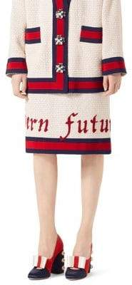 Gucci Tweed Embroidered Skirt