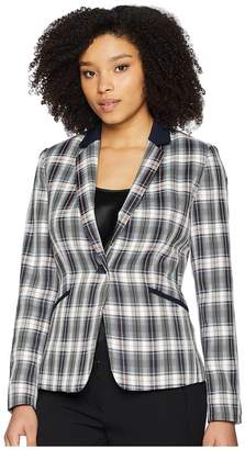 Tahari ASL Plaid One-Button Jacket with Solid Pop Collar Women's Coat