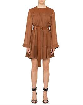 Chlo Long Sleeve Silk Dress With Belted Waist