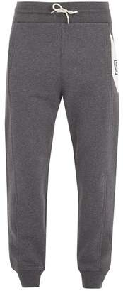 Moncler Gamme Bleu Contrast Panel Cotton Track Pants - Mens - Dark Grey