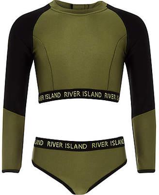 River Island Girls khaki RI crop bikini set