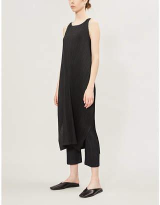 Pleats Please Issey Miyake Scoop-neck sleeveless racerback pleated dress