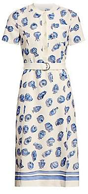 Altuzarra Women's Printed Short Sleeve Belted A-Line Dress