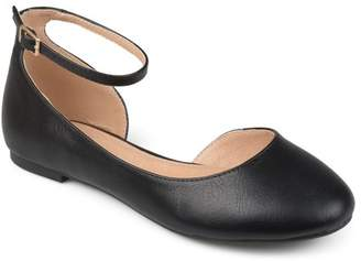 Co Brinley Womens Faux Leather Wide Width Ankle Strap Round Toe D'orsay Flats