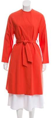 Cédric Charlier Collarless Belted Coat