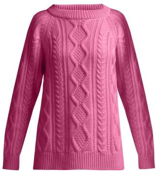 Queene And Belle - Clara Cable Knit Cashmere Sweater - Womens - Fuchsia