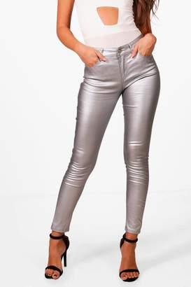 boohoo High Rise Metallic Coated Denim Skinny Jeans