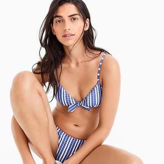 J.Crew Tie-front french bikini top in puckered stripe