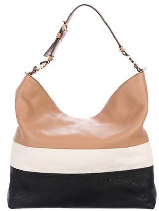 Tory Burch Duet Striped Leather Hobo