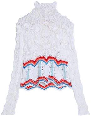 Peter Pilotto Scalloped Open-Knit Cotton-Blend Turtleneck Sweater
