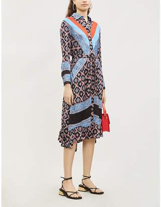 Sandro Contrast tile-print satin-twill dress