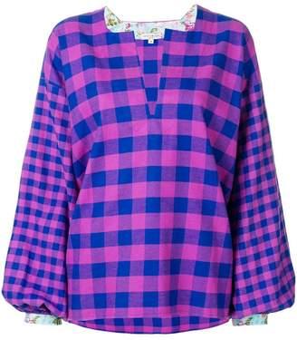 Natasha Zinko checked V-neck oversize blouse