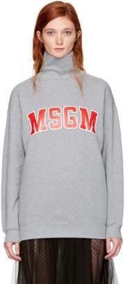 MSGM Grey Logo Turtleneck Sweatshirt