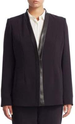 Max Mara Plus Faux Leather-Trimmed Blazer