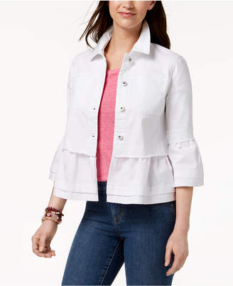 Style&Co. Style & Co Ruffled Denim Jacket, Created for Macy's