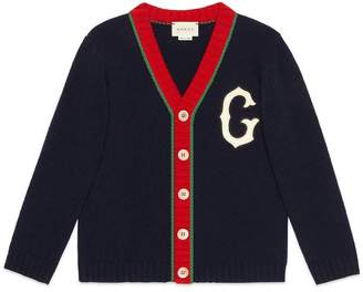 Gucci Children's wool cardigan with G patch