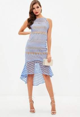 Missguided Blue Strappy Square Neck Contrast Midi Dress